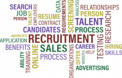 Recruitment, jobs, sales, poster with synonyms